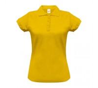 Поло женское с манжетами на рукавах желтое w257