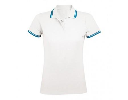 Поло женское двухцветная белая с голубыми манжетами w230