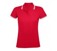 Поло жіноче червоне з білими манжетами w221