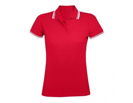 Поло женское красное с белыми манжетами w221