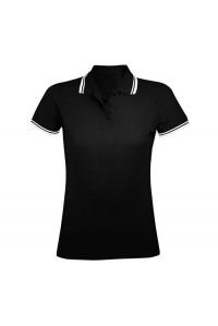 Поло женское черное с белыми манжетами w222
