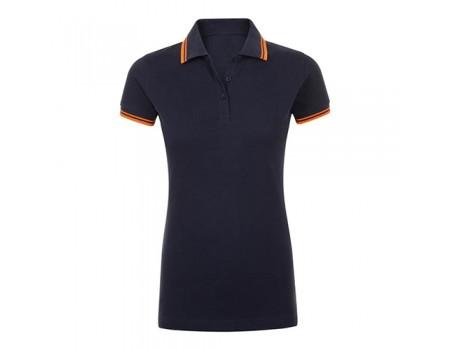 Поло жіноче двоколірне темно синє  з оранжевими  манжетами w226