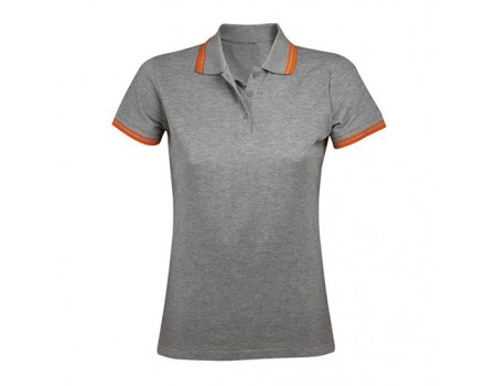 Поло женское двухцветная светлый меланж с оранжевыми манжетами w227