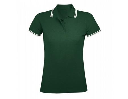 Поло жіноче двоколірне темно зелене з білими  манжетами w224