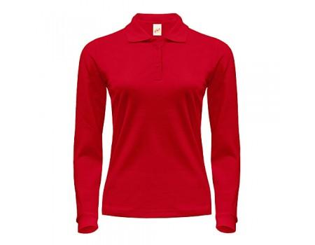 Поло женское с длинным рукавом красное w263