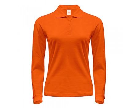 Поло жіноче на довгий рукав оранжеве  w261