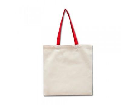 Еко сумка з двонитки колір льон з червоними ручками EC108