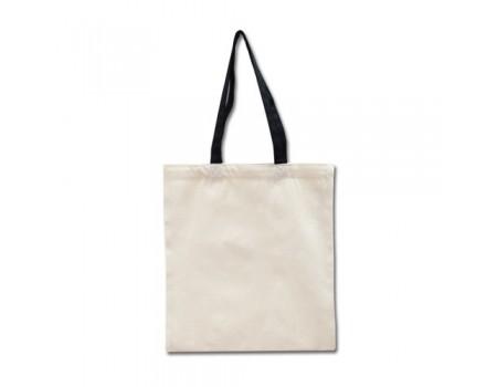 Эко сумка  двунитка цвет лен с черными ручками EC108