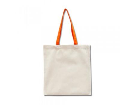 Еко сумка з двонитки колір льон з оранжевими ручками EC110