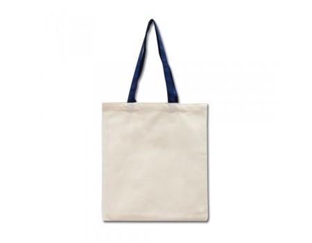 Еко сумка з двонитки колір льон з синіми ручками EC109